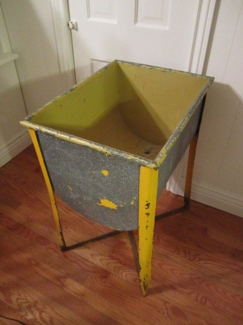 Antique Galvanized Wash Tub On Stand With Drain   Made In St. Louis   PRICE