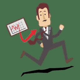 Businessman Running With Chart Board Cartoon Cartoon Office Cartoon Business Man