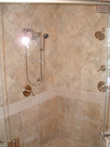 Shower tile pattern: carry wainscoting around whole bathroom with ...