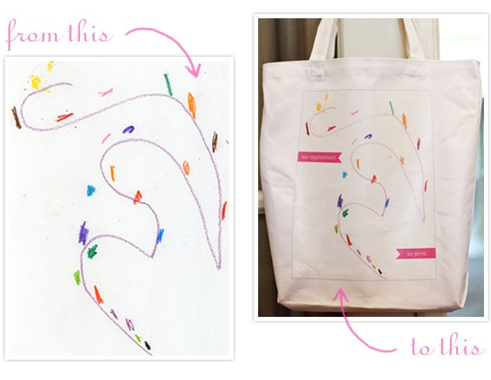 childrens' drawings on a tote