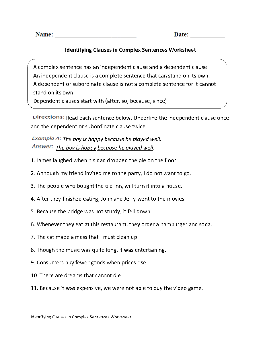 worksheet Sentence Structure Worksheets For Kindergarten identifying clauses in complex sentences worksheet englishlinx com this directs the student to read each sentence and underline independent clause once d