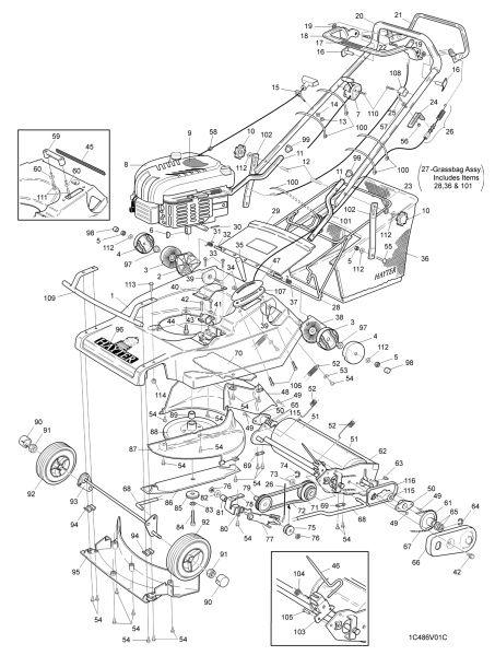 Hayter Harrier 48 486V001001 SPARES ORDERING DIAGRAMS
