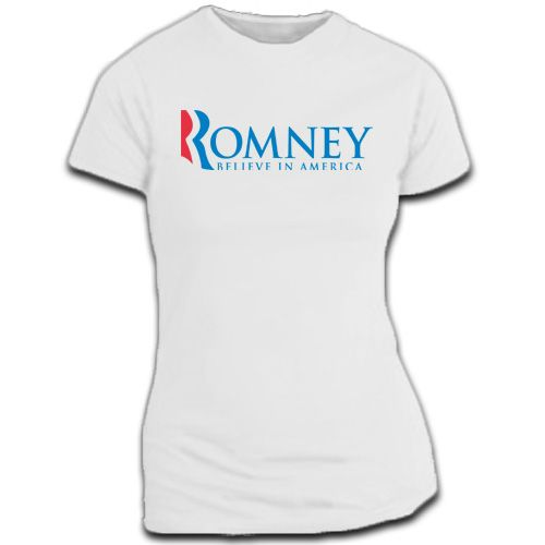 $19.95 -- This Mitt Romney short sleeve t-shirt is ideal for campaign rallies or everyday wear. Show your support for Mitt Romney with this t-shirt and get involved!    • 100% pre-shrunk cotton  • Taped shoulder to shoulder  • Two needle sleeve and bottom hem.  • Made in the U.S.A.  • Available in sizes SM-XXL (2.00 additional charge for XXL).   #mittromney #election #2012 #republican  (http://www.themittromneystore.com/mitt-romney-for-president-t-shirt-women/)