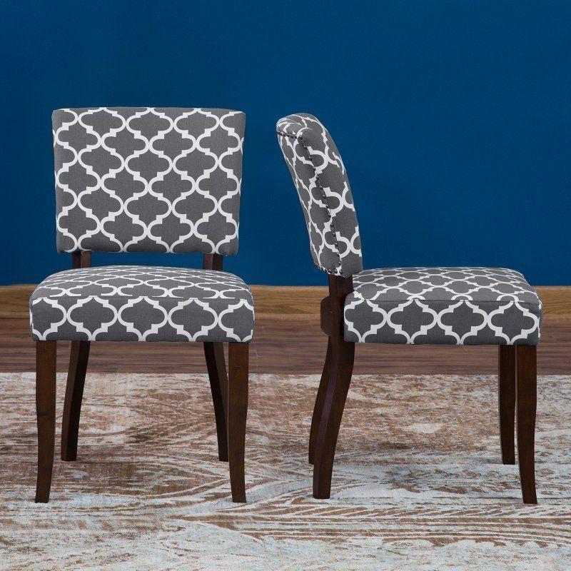 Pleasant Belham Living Paige Open Back Dining Chair Grey Quatrefoil Dailytribune Chair Design For Home Dailytribuneorg