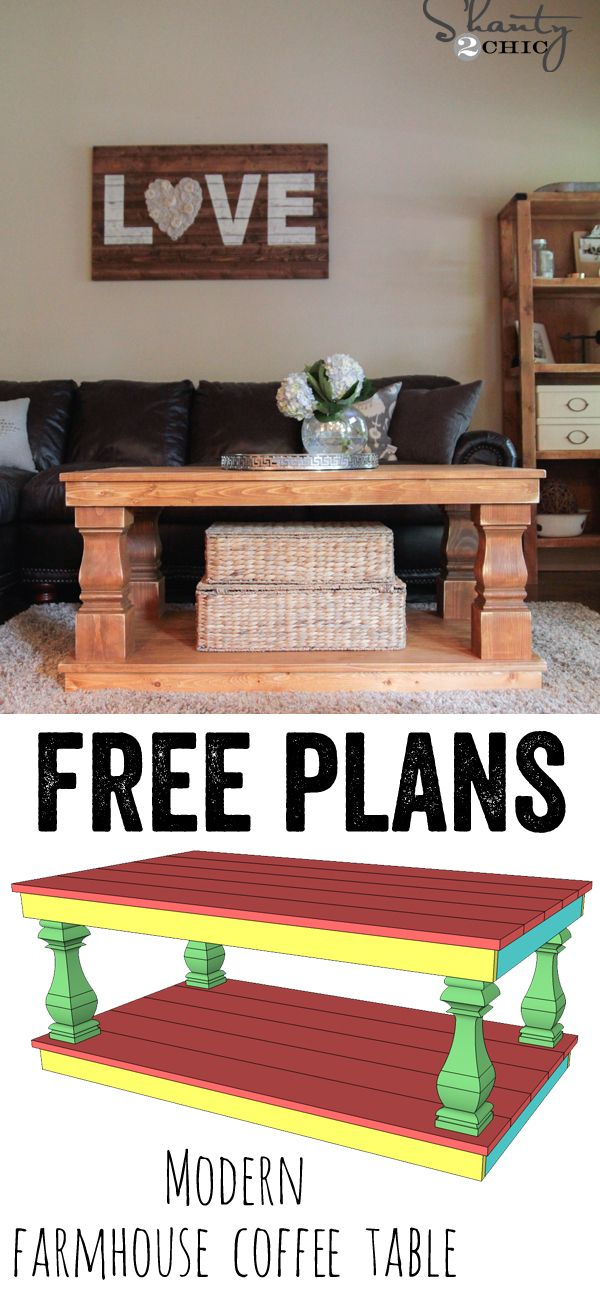 LOVE this DIY Modern Farmhouse Coffee Table.... FREE PLANS and a tutorial! www.shanty-2-chic.com