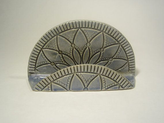 Blue lace half circle business card holder handmade ceramic blue lace half circle business card holder by doroomstudios colourmoves