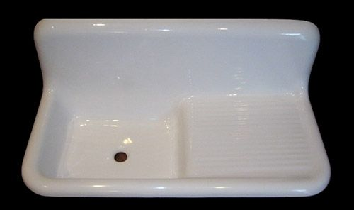 Reproduction 1940s 1950s Farmhouse Drainboard Sink Now