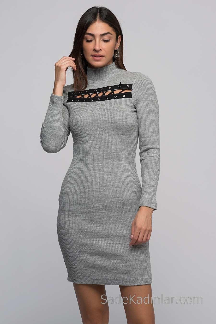 2020 Kislik Elbise Modelleri Gri Kisa Bogazli Onu Kus Gozu Detayli Elbise Modelleri Elbise Kazak Elbise