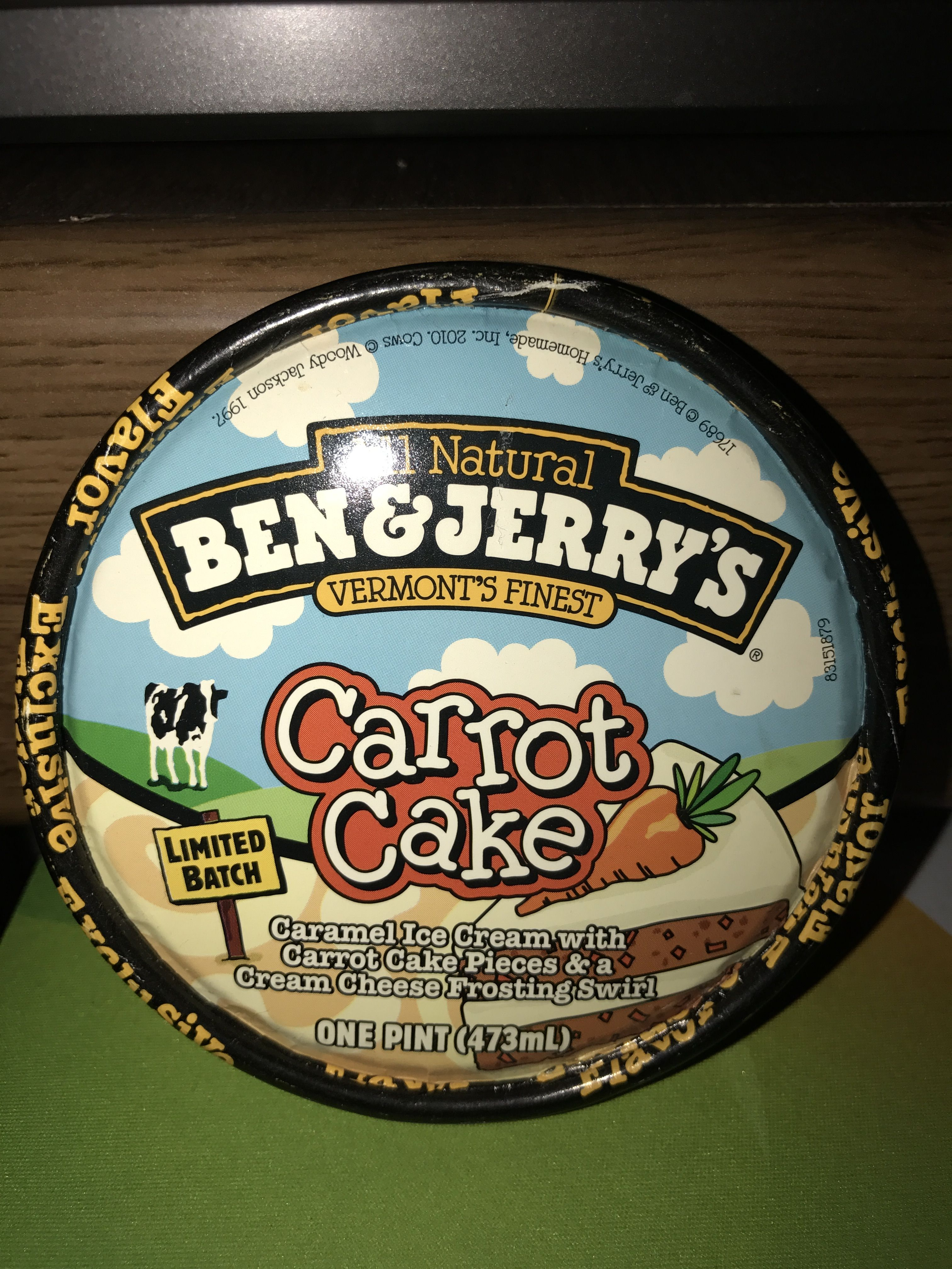 All natural Ben & Jerry's vermont's finest carrot cake
