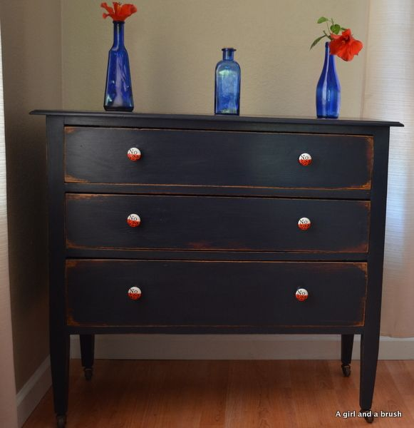 Beautiful shabby black painted dresser with new pulls. | Sun and ...