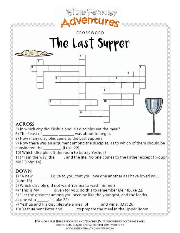 Bible Crossword Puzzle: The Last Supper | Free bible and Activities