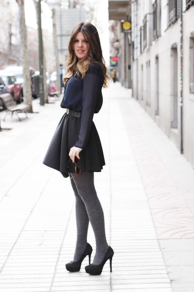 outfit medias grises buscar con google formal clothing pinterest strickkleider. Black Bedroom Furniture Sets. Home Design Ideas