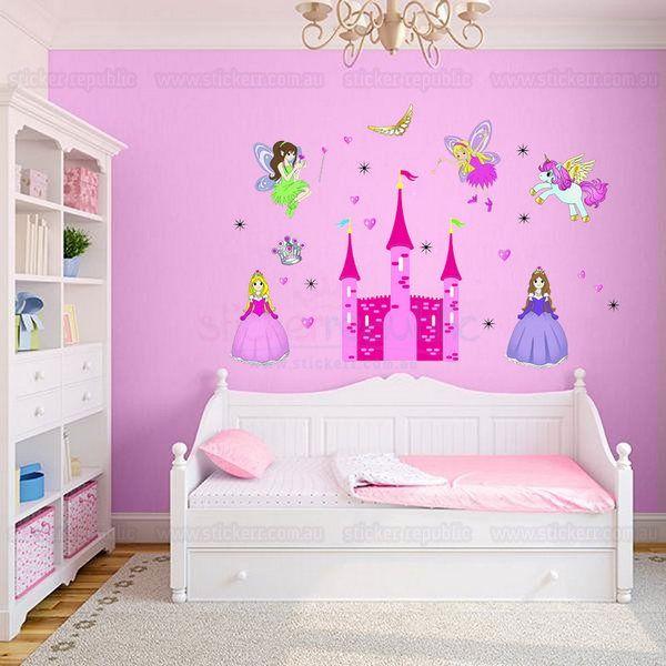 disney princess castle wall decal for girl room decor sticker ...