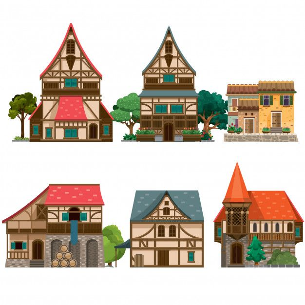 Modern House Red Roof: Assorted Medieval Houses In 2020