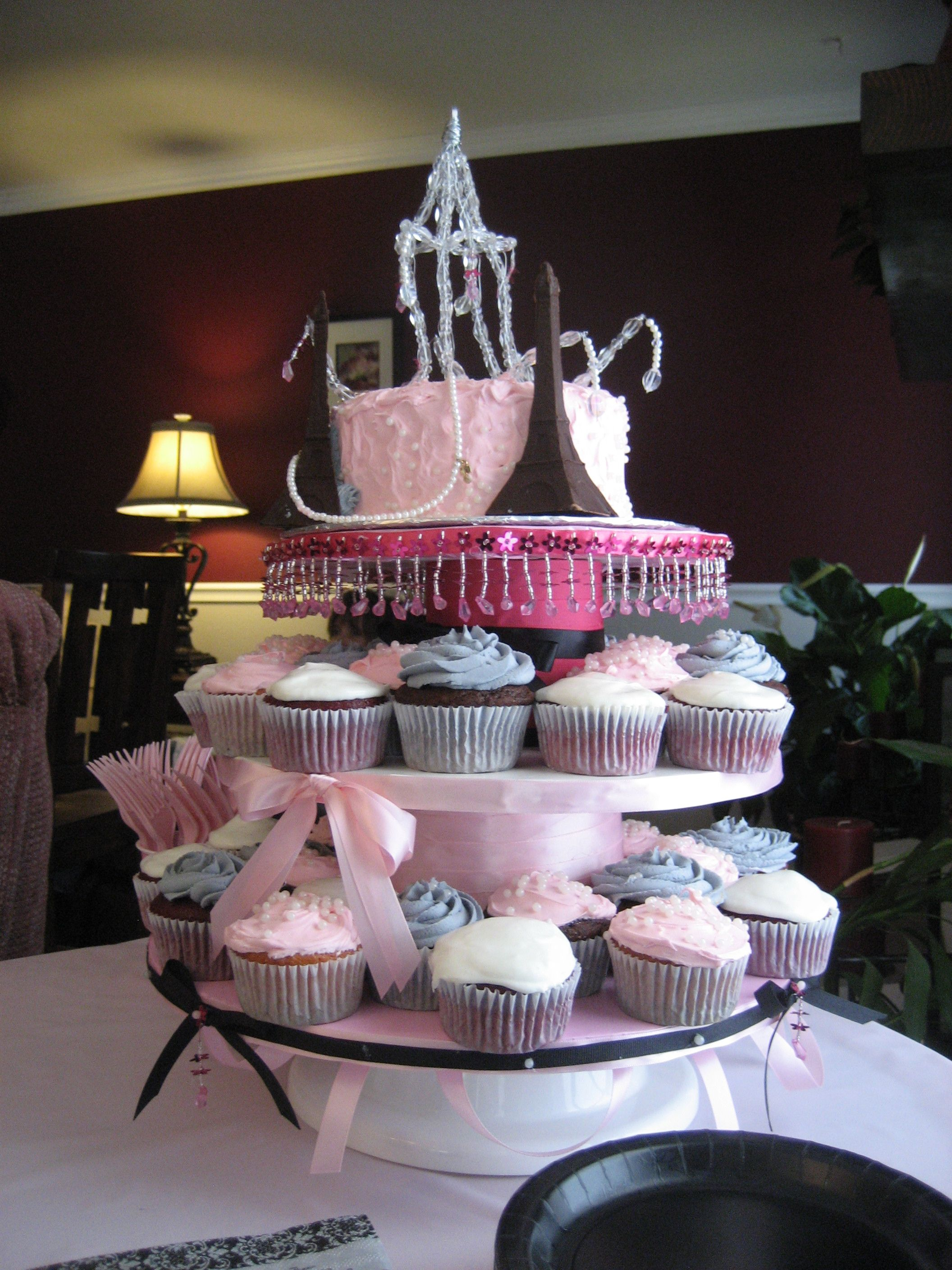 A baby shower Cupcake Cake Tower Paris Theme