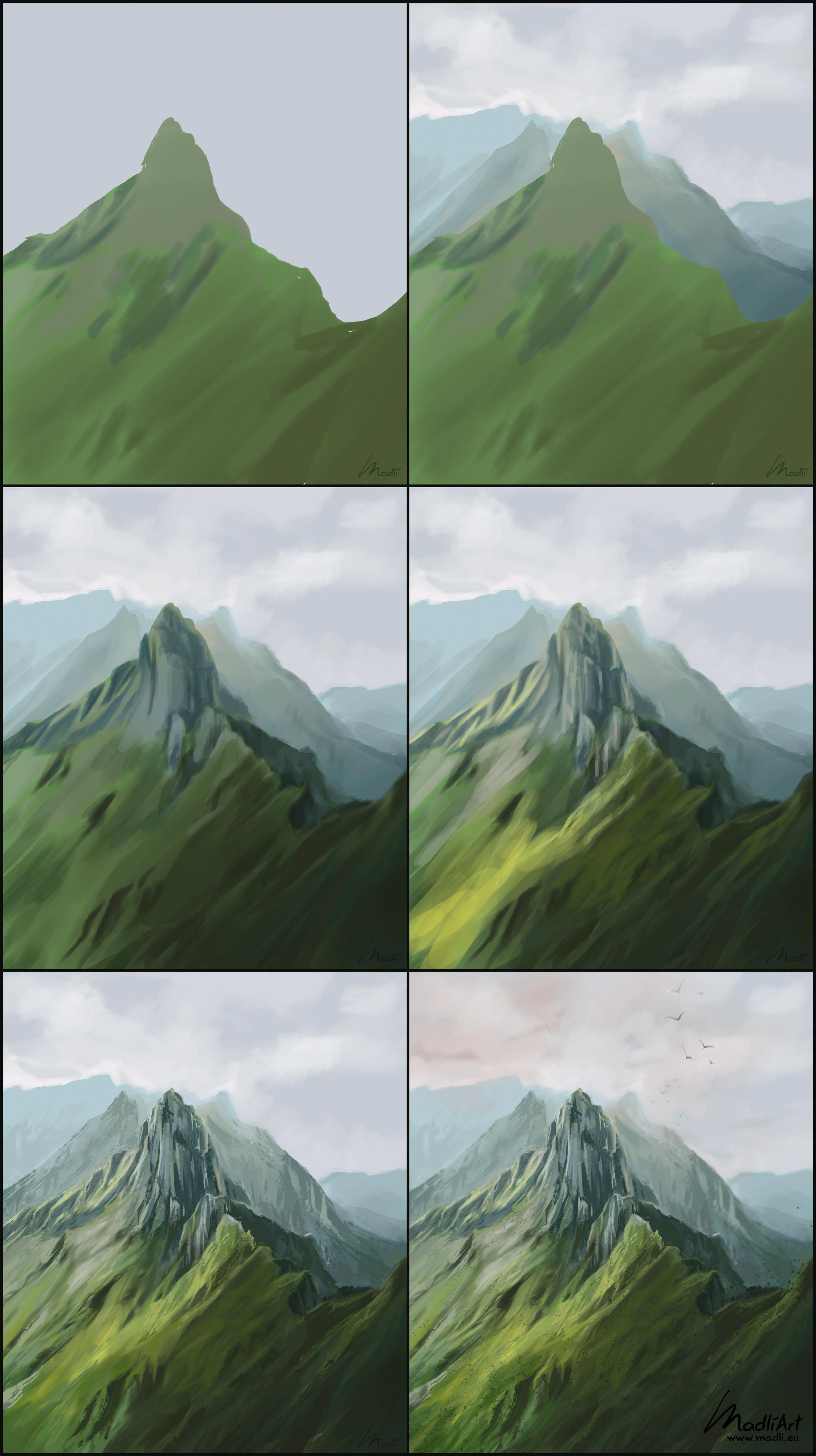 Photo of How to paint green mountain summit scene. Digital Painting of mountains in Switz…