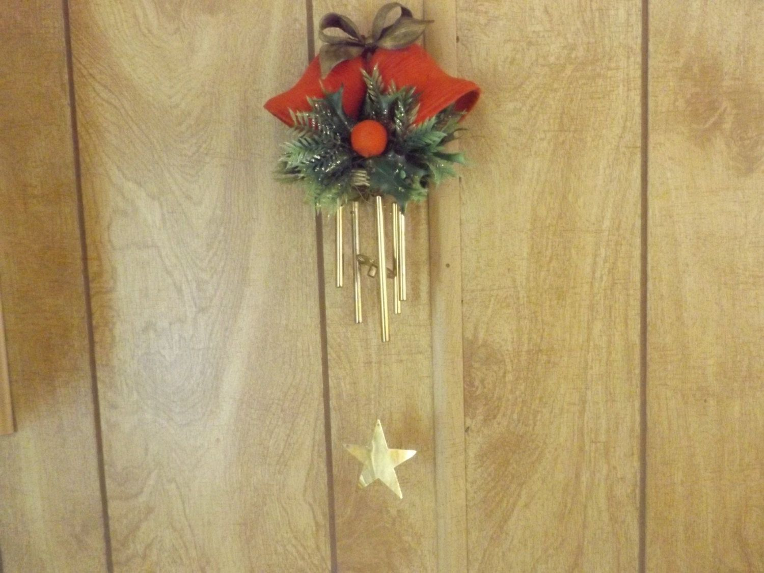 Vintage Red Flocked Christmas Bells / Hanging Holiday Wind Chimes ...