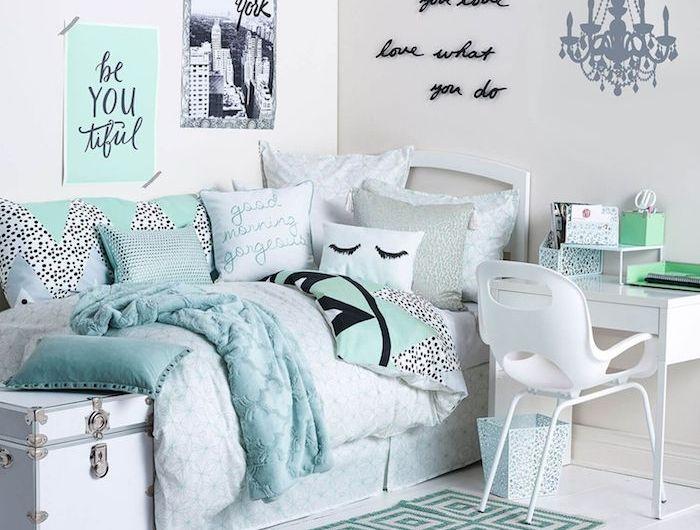 jugendmöbel weiß blau grau türkis teppich deko ideen gestaltunf