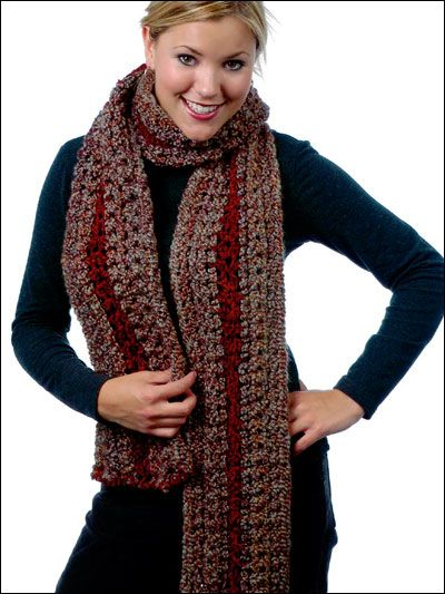 This gorgeous richly colored fall foliage scarf pattern wraps the crochet accessories crochet scarf patterns chase away the cold wrapped in this crocheted scarf make as a gift with chunky yarn and a size q crochet hook dt1010fo