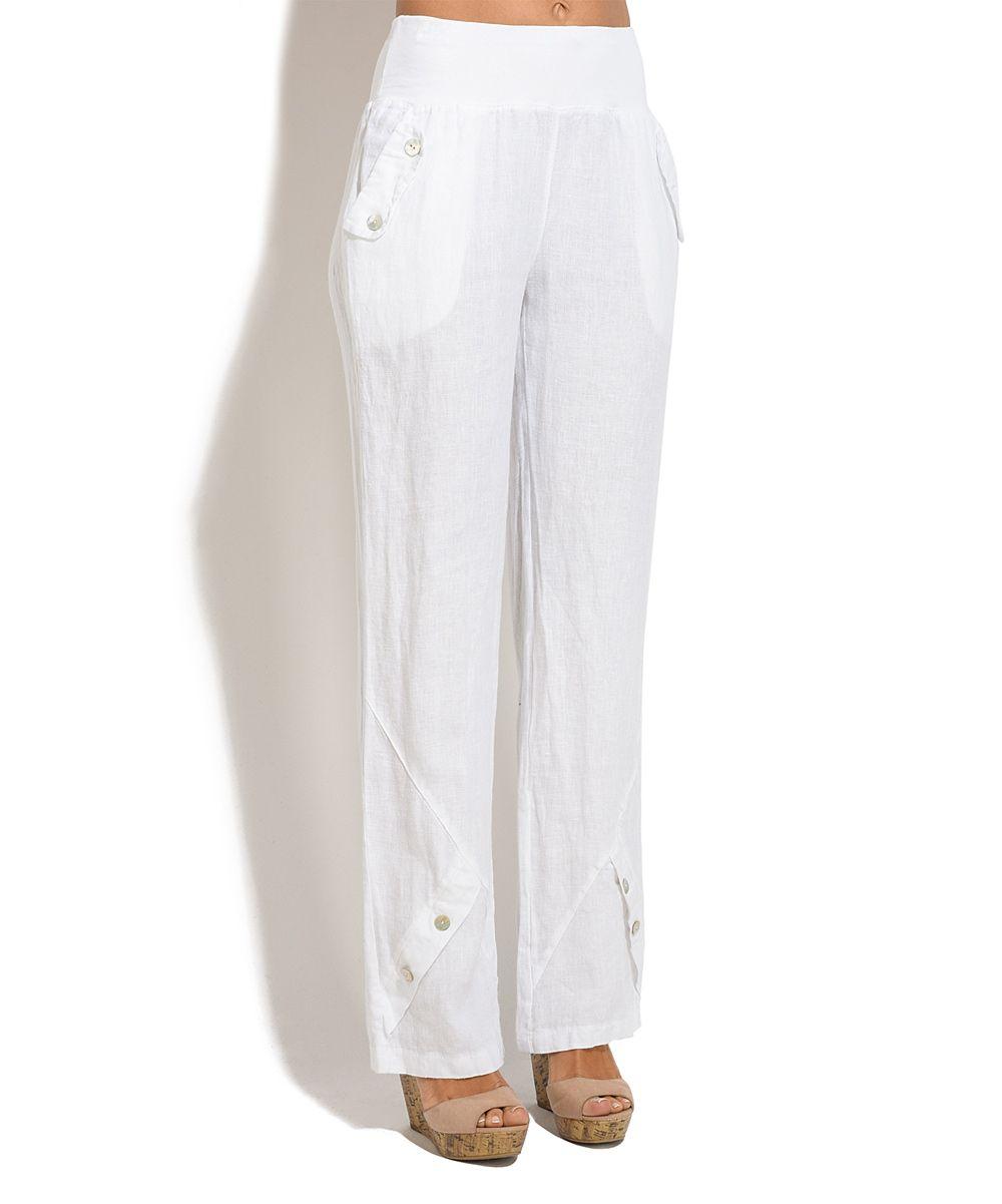 ee27814a3d1 White Alize Linen Trouser Pants