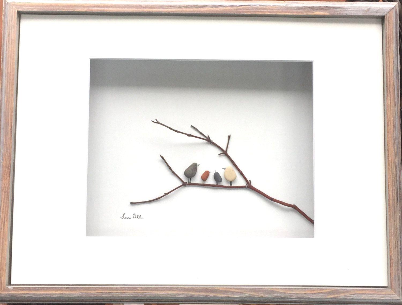 Pebble Art Bird Family in a Shadow Box Frame Modern WallArt Abstract ...