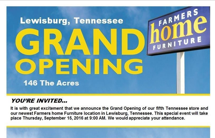 Grand Opening Of Farmers Home Furniture In The Acres In Lewisburgtn