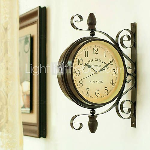 Usd 39 99 15 75 H Retro Style Double Dial Wall Clock In Iron Vintage Wall Clock Retro Wall Clock Metal Wall Clock