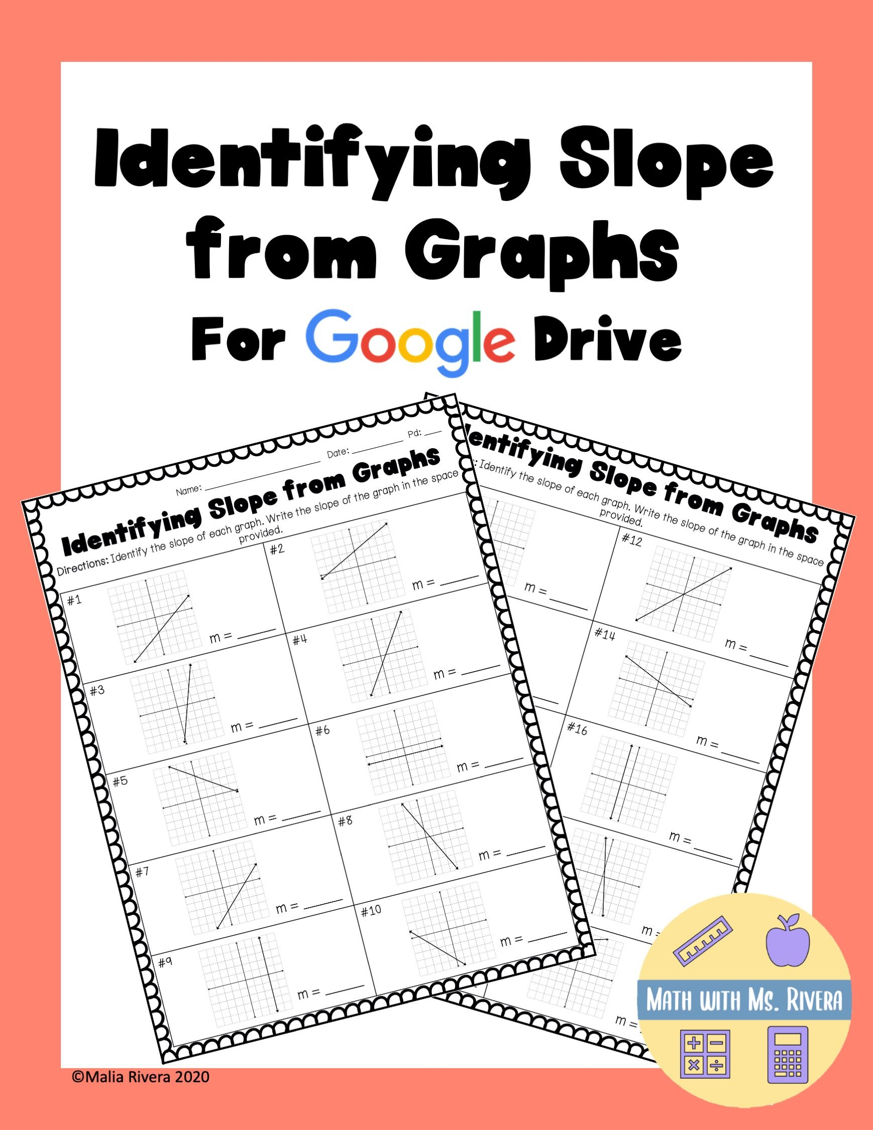 Identifying Slope From Graphs Google Drive Distance Learning Distance Learning Graphing Slope Activity