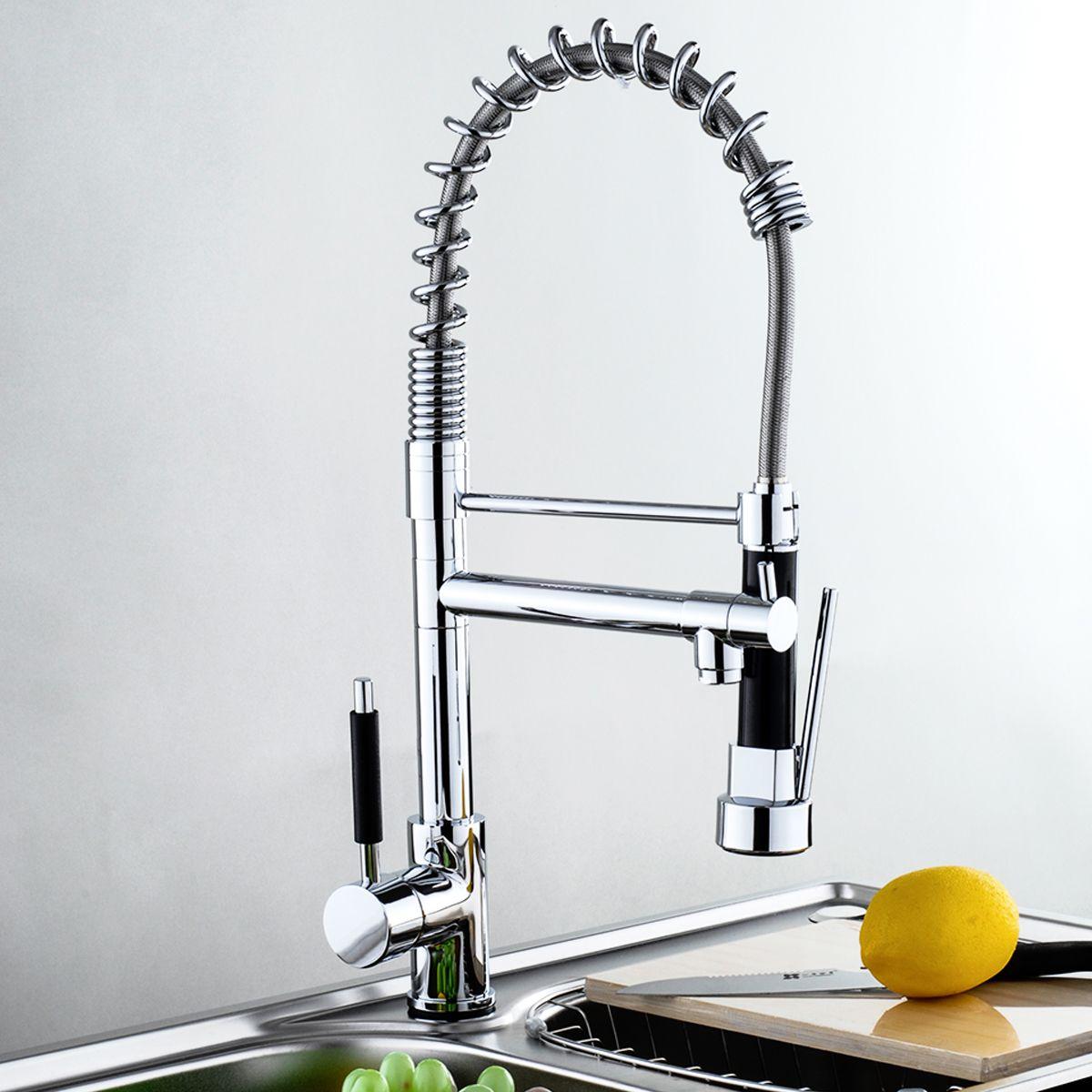 Modern Kitchen Sink Faucets Swivel Spout Chrome Brass Kitchen Faucet Dual Sprayer Vessel Sink