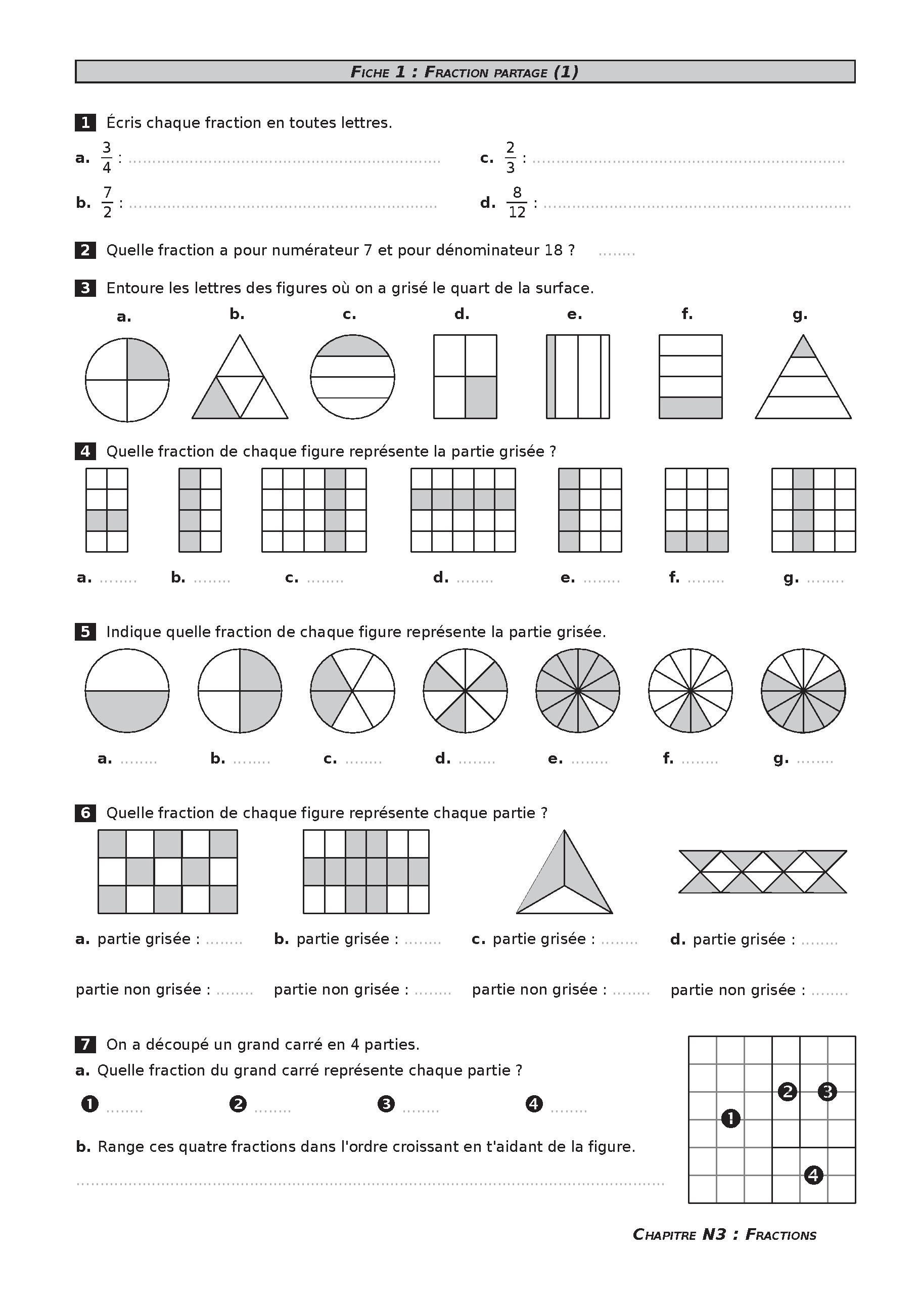 Exercices Sur Les Fractions Cm2 : exercices, fractions, Épinglé, Géométrie, Mesure, Cycle