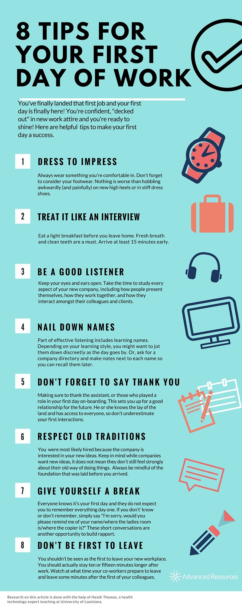 8 Tips For Your First Day Of Work First Day Of Work First Day New Job First Job Tips