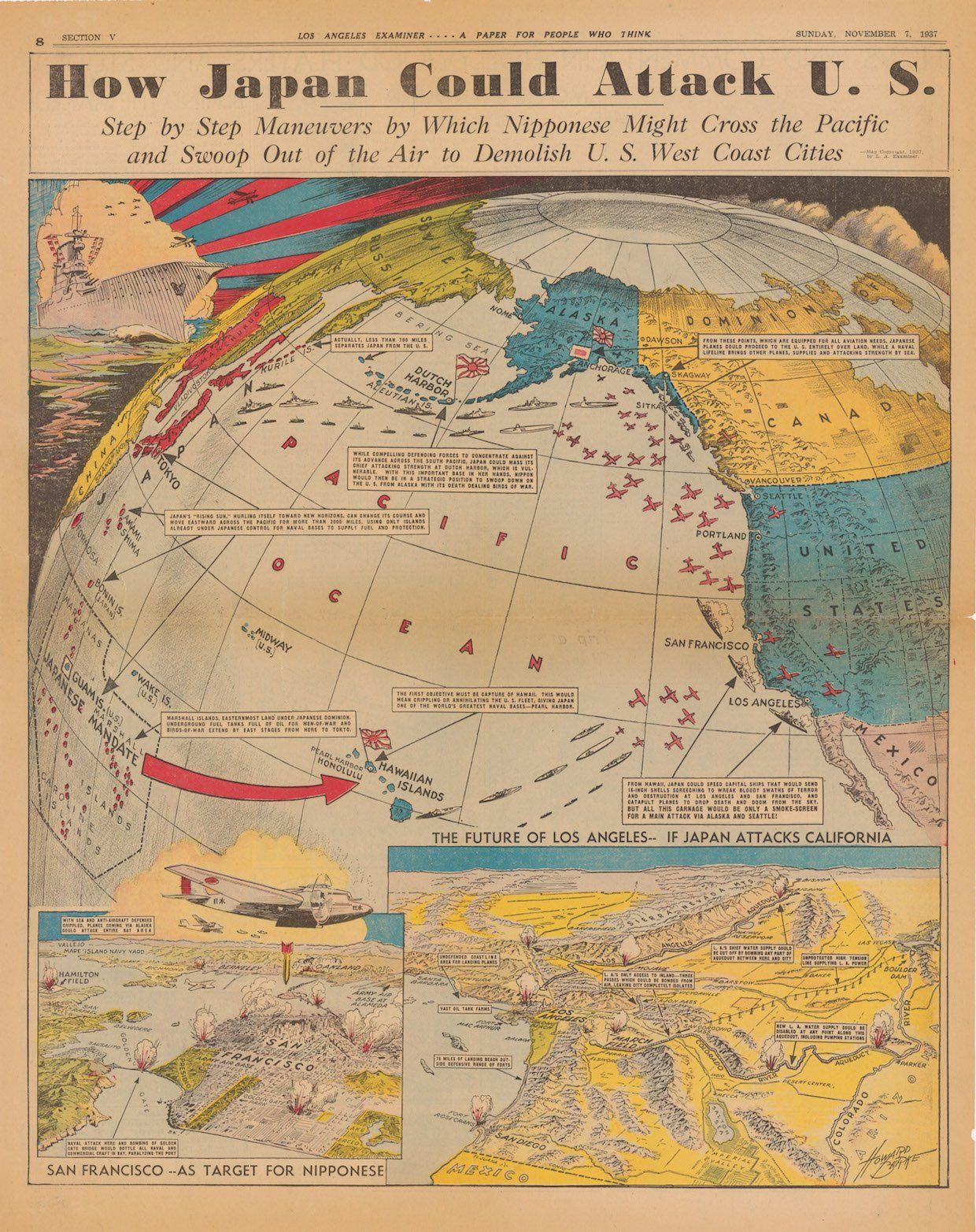 This map predicted how japan would attack the us during world war ii japan world war ii map gumiabroncs Gallery