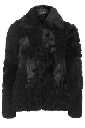 PETITE Patchwork Faux Fur Jacket