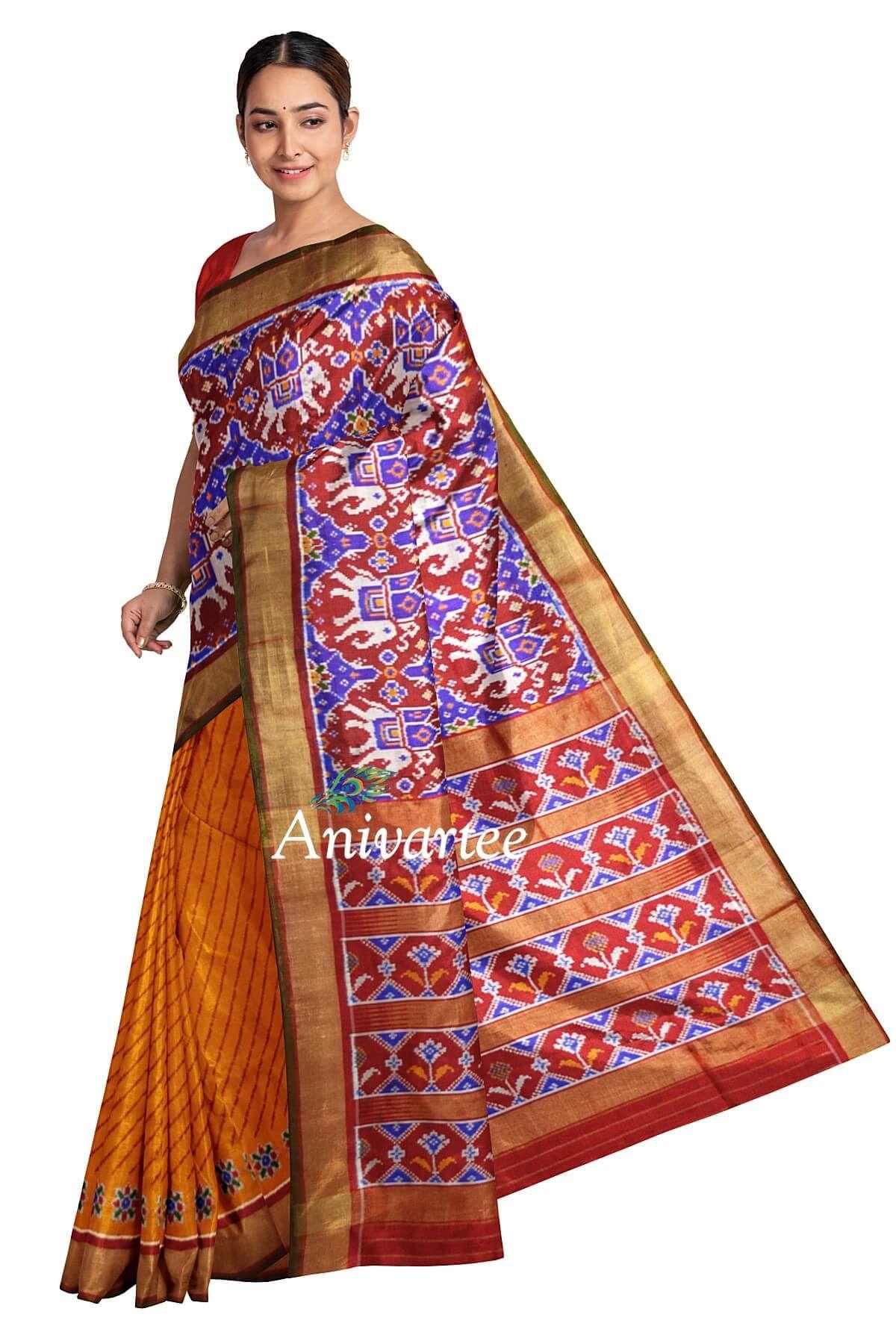 Handwoven-ikat-pure-silk-saree-in-partly-style-with-kunj-in-chabadi......   +91 87921 77606.....   www.anivartee.com......      #anivartee #anivarteesarees #saree #sareesusa #sareeuk #sareesoverseas #sareebangalore #sareeswag #handloom #indianwear #weaversofinstagram #sareeofinstagram #sareechicago #designersaree #ethnicwear #indianbride #indianwedding #desifashion bollywoodstyle #indian #lehenga #ikkat #ikkatsilksaree #wedmegood