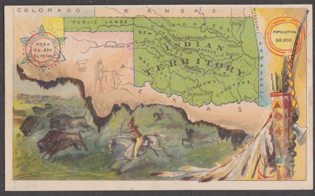 Arbuckle Bros Ariosa Coffee trade card Oklahoma Indian Territory