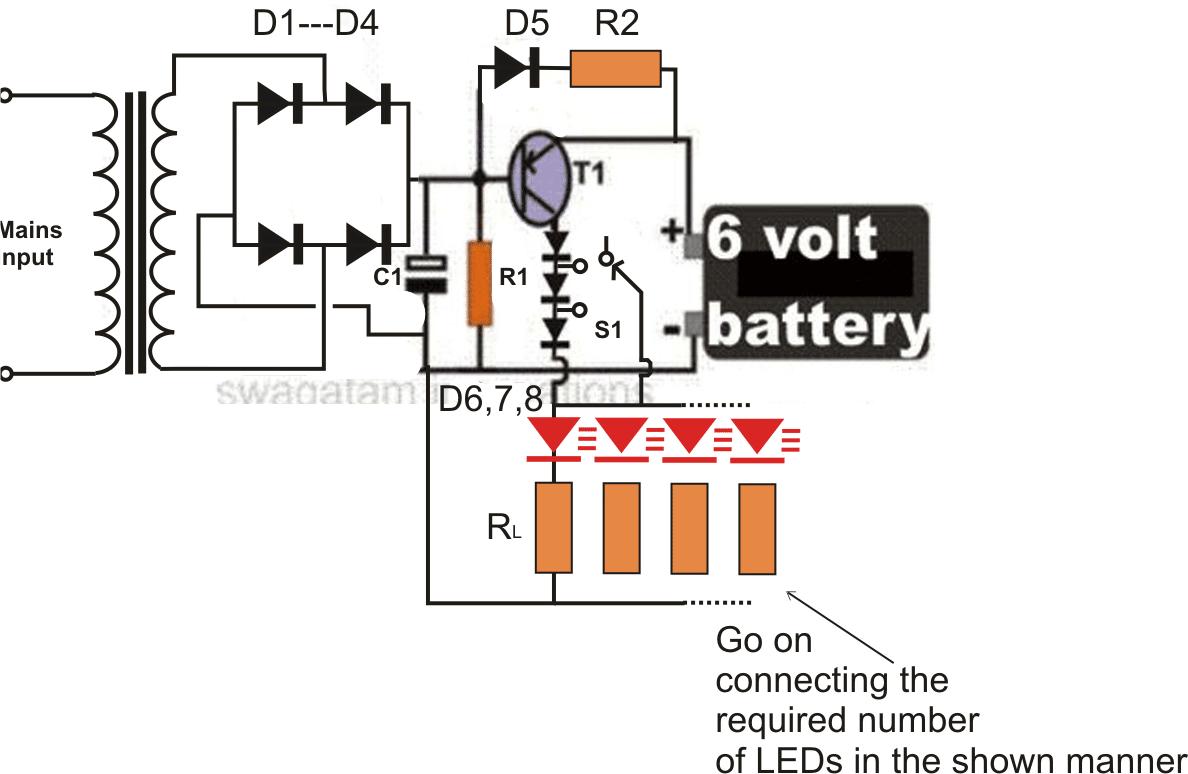 emergency light circuit diagram electronic circuit projects wiring 6v emergency light circuit cd1 in 2019 emergency [ 1188 x 774 Pixel ]
