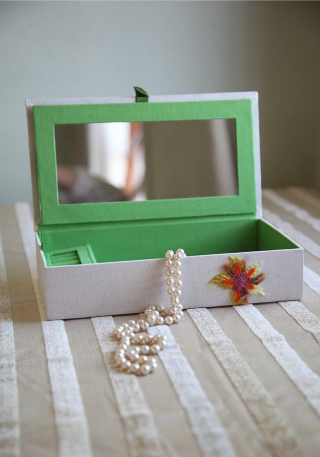 Delightful Days Embroidered Jewelry Box Modern Vintage Room Decor