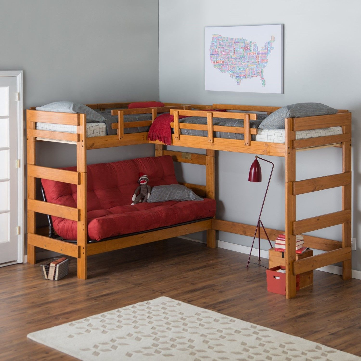 Think Outside The Bed Woodcrest Heartland Futon Bunk With Extra Loft Makes E Where There Once Was None Its Double L Shape Configuration