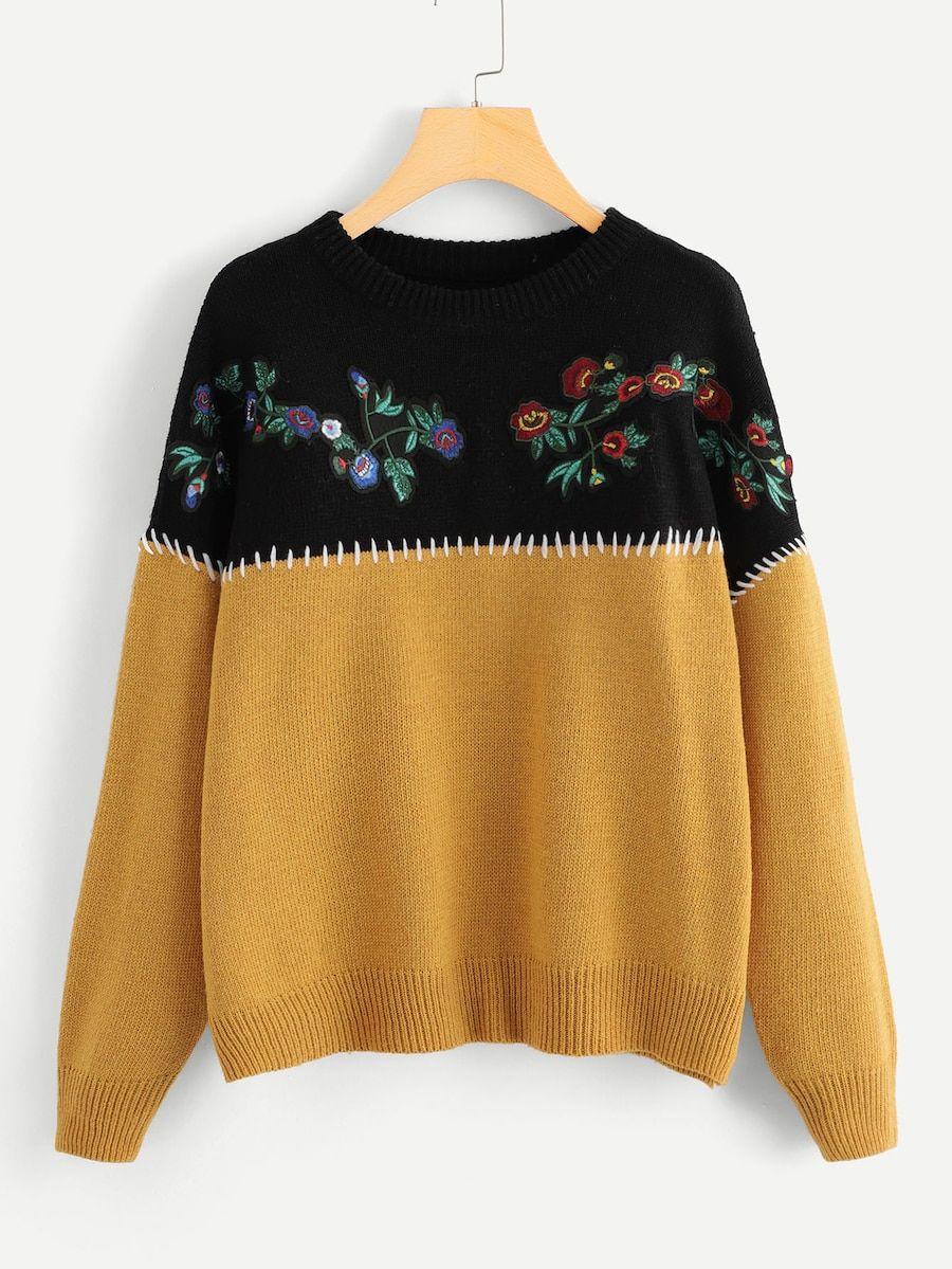 e253f1a5b1d89 Embroidery Flower Applique Two Tone Jumper -SheIn(Sheinside ...