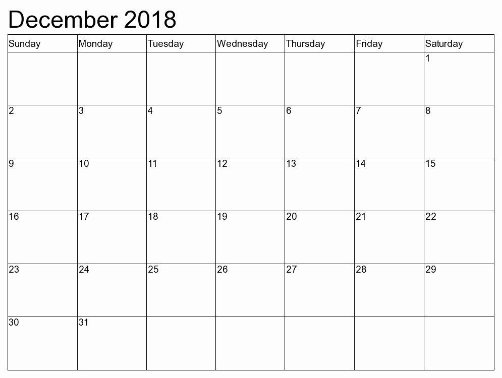 Free Printable December 2018 Calendar Template December 2018