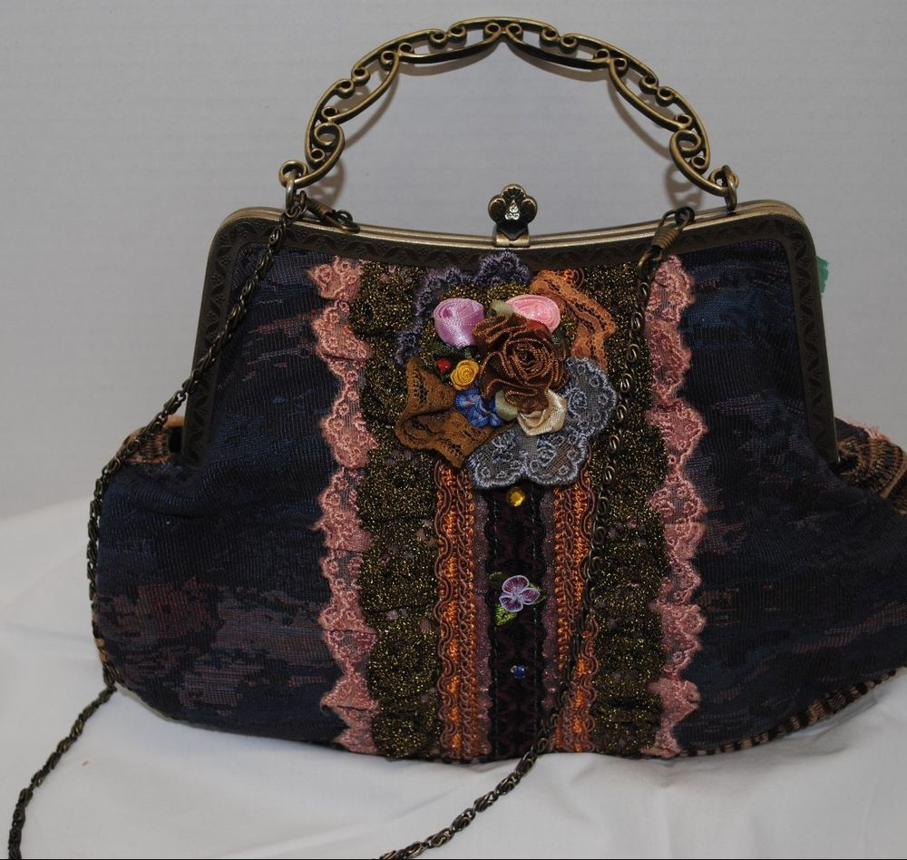 Tapestry Vintage Look Estilo Collection Fl Handbag Purse Clutch