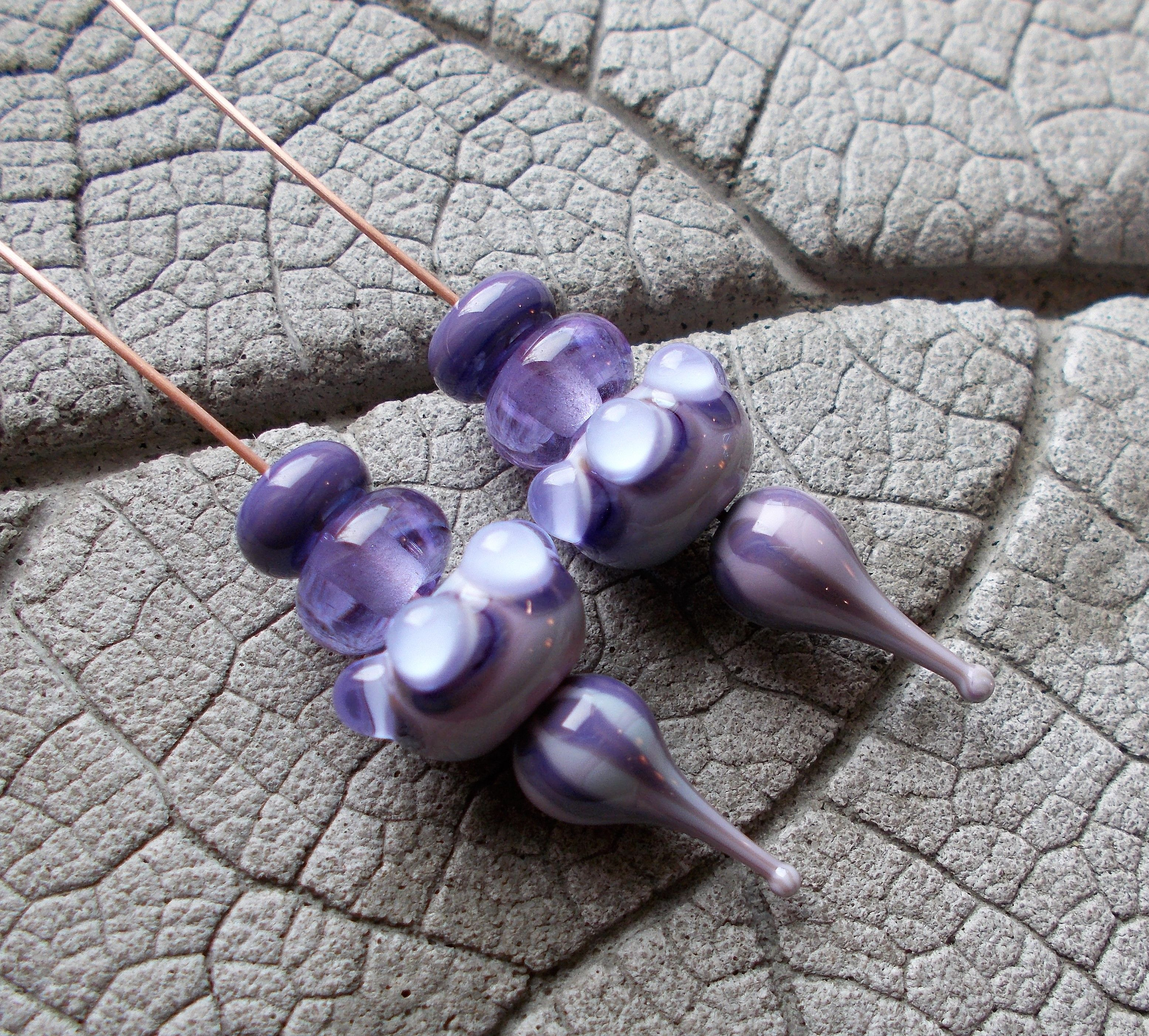 MADE TO ORDER Lilac Lampwork Glass Bead Purple and blue flowers bead 12mm