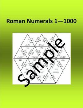 Roman Numerals 1 – 1000 – Math puzzle   Papier, Gruppe und Lager
