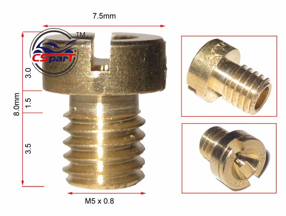8mm length 7 5mm Head M5*0 8 Thread round Main Jet for