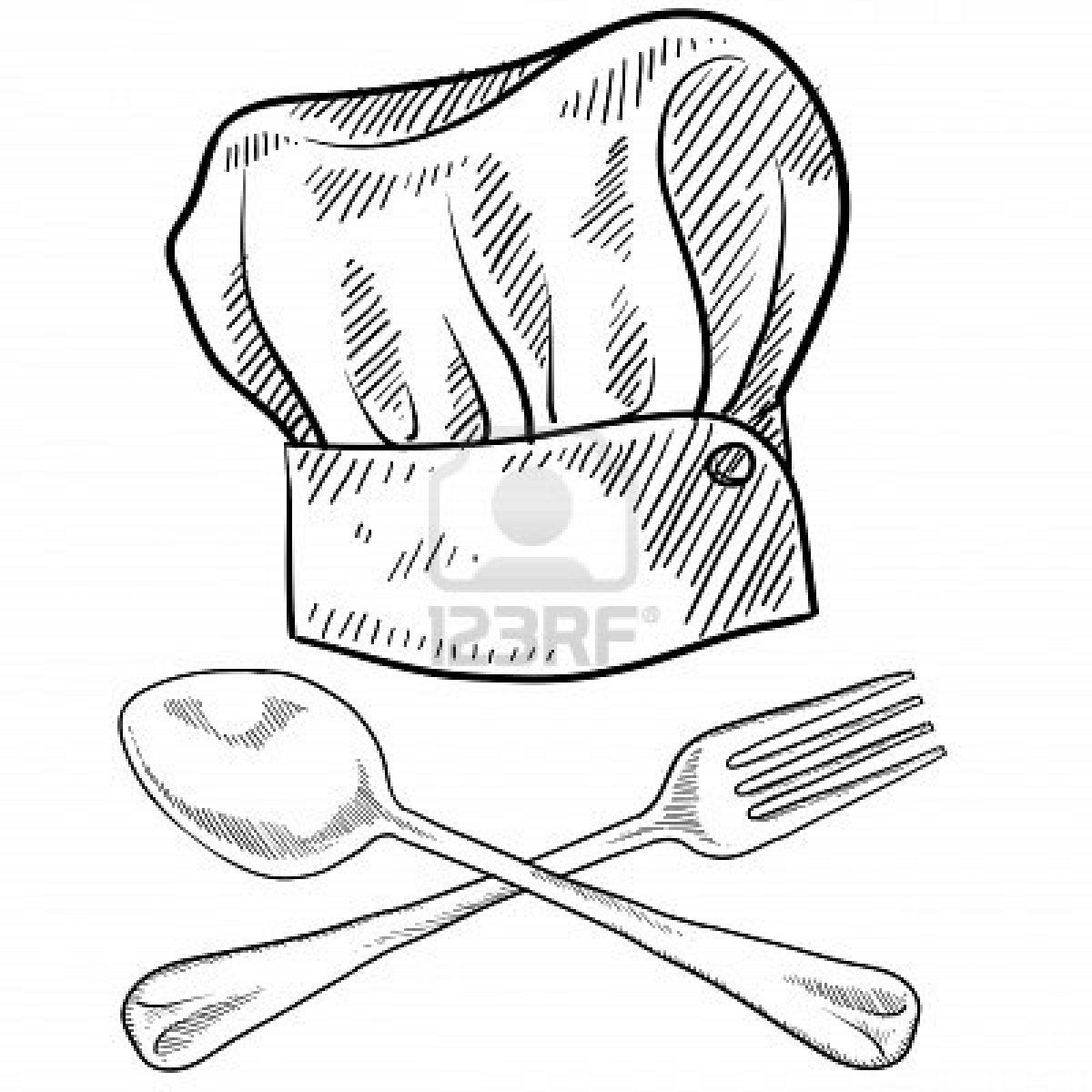 doodle style chef hat with fork and spoon stock photo creativity Pub Cook Resume doodle style chef hat with fork and spoon stock photo