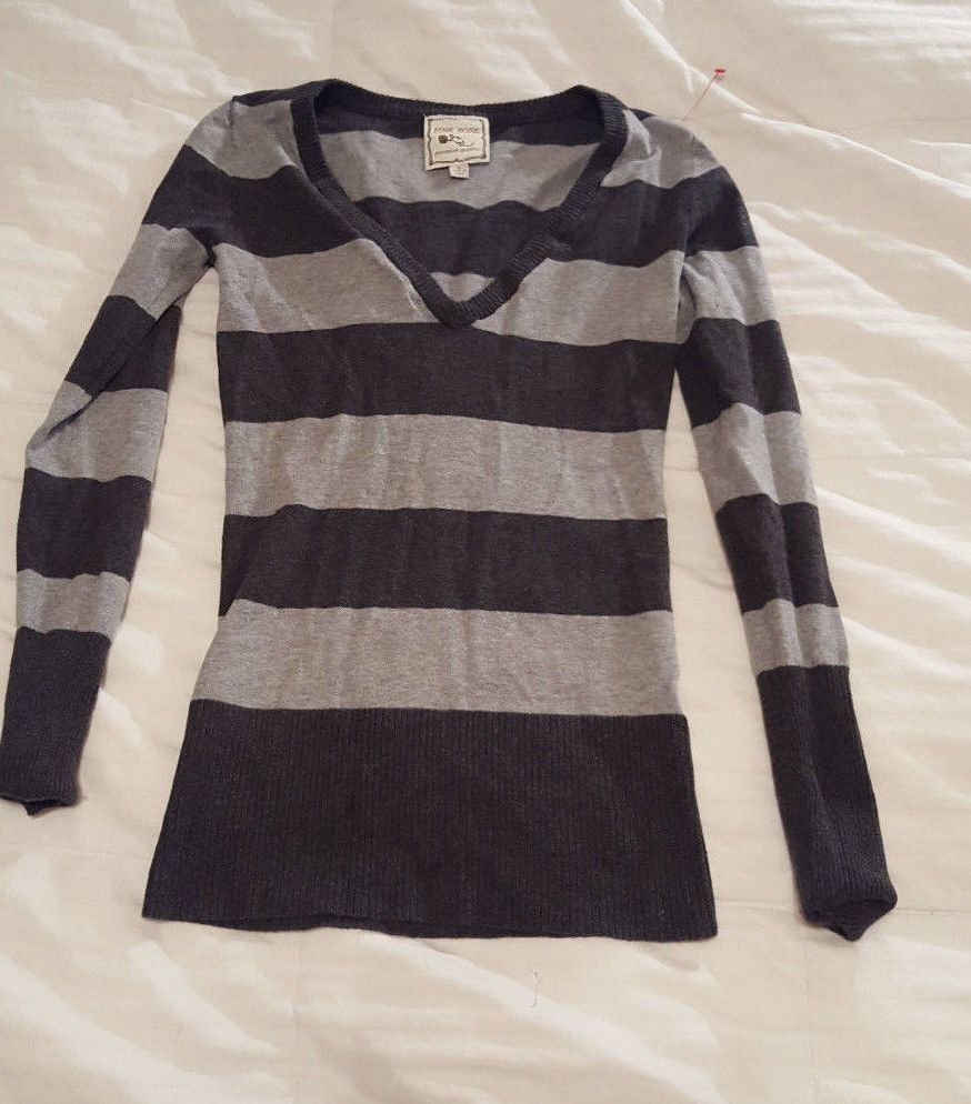 Pink Rose Small Black Gray Striped Long Sleeve Sweater Women's ...