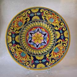 Large wall plate in hand painted ceramics by Gialletti Giulio ...