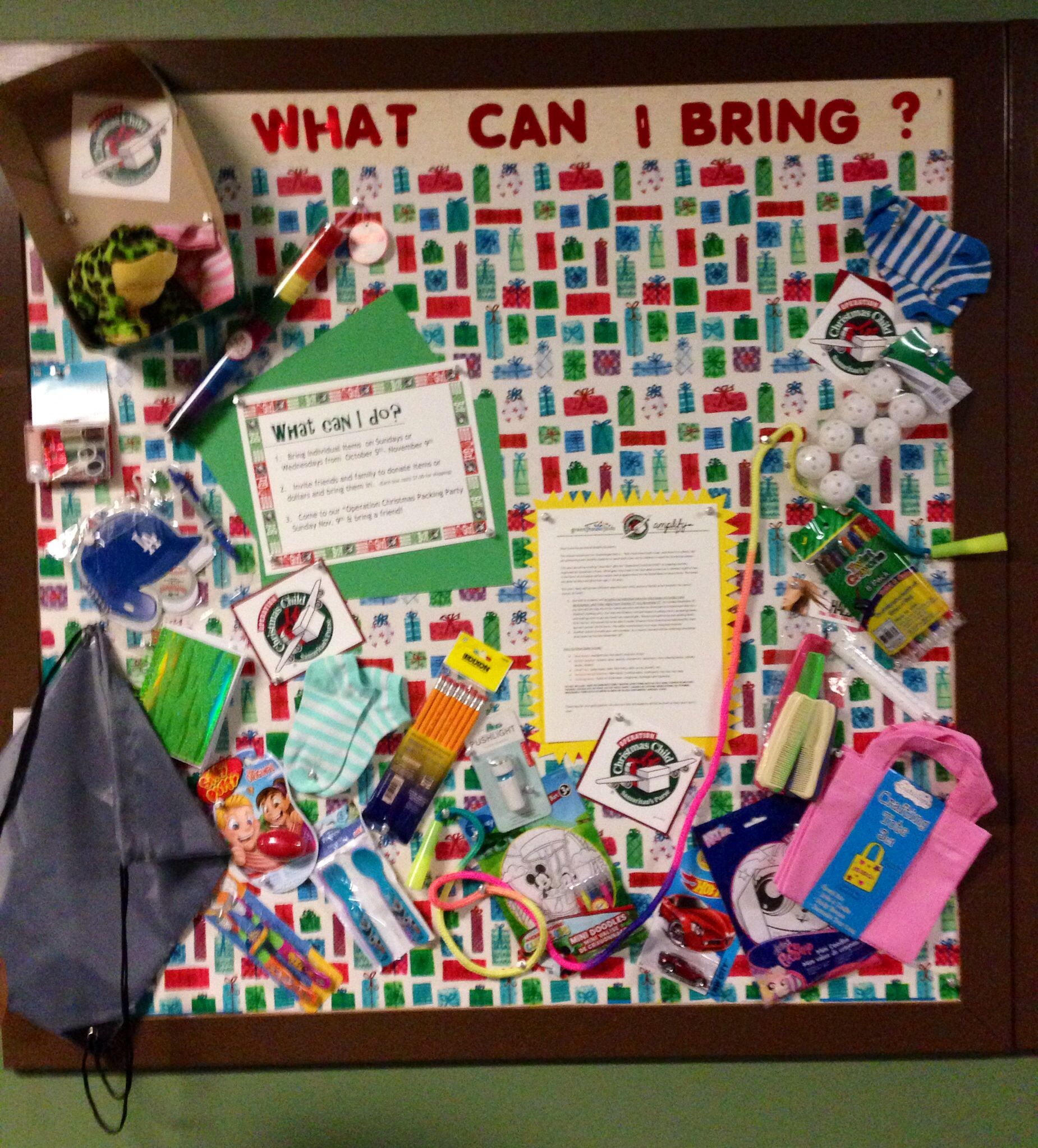 Bulletin Board Ideas Early Childhood: Operation Christmas Shoe Box... Our Bulletin Board For The