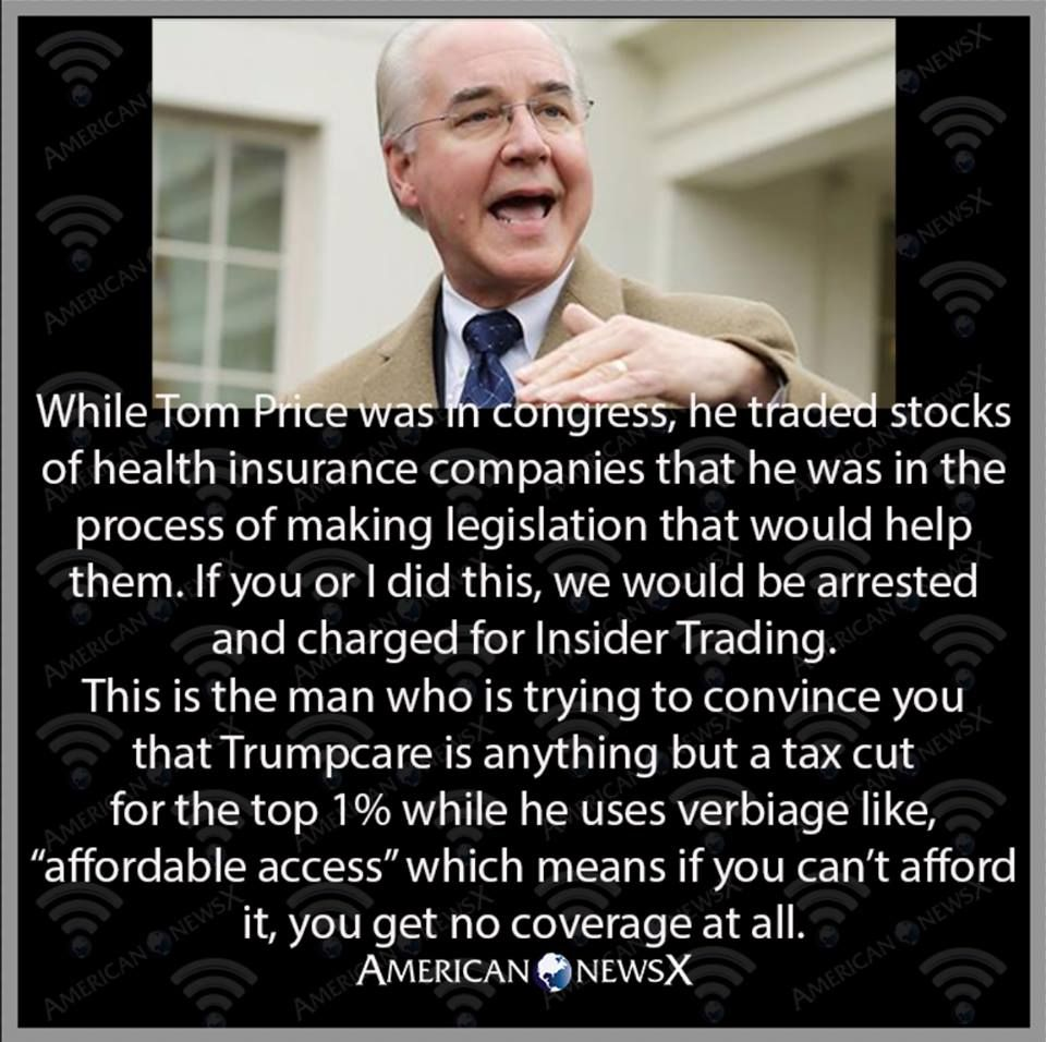 While Tom Price Was In Congress He Traded Stocks Of Health Insurance Companies That He Was In The Pr Health Insurance Companies Health Health Is Wealth Quotes