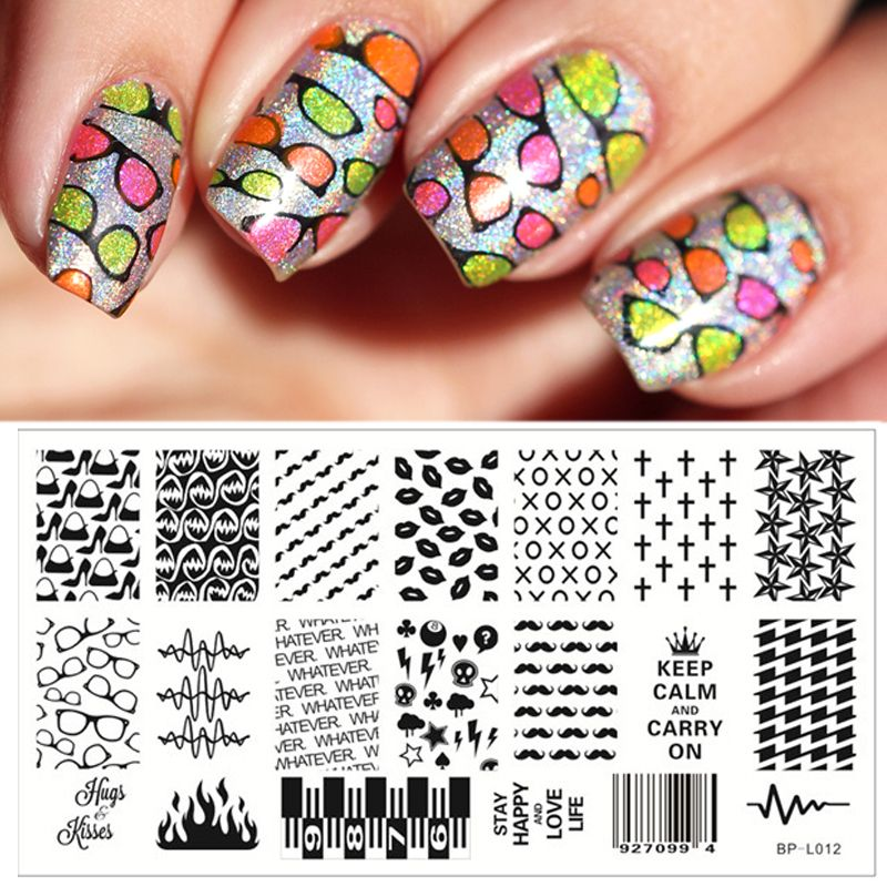 Classic Lip Cross Pattern Nail Art Stamp Template Moustache Image - stamp template